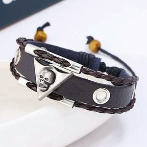 Skull Leather Braided Bracelet Black Adjustable